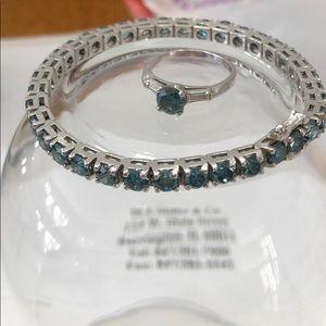 Jewelry - Vintage Blue Diamond Ring & Tennis Bracelet Set